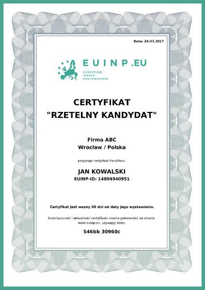 Certyfikat Rzetelny Kandydat